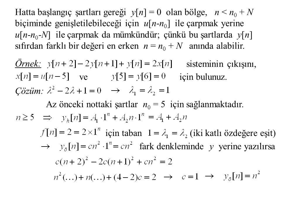 Hatta başlangıç şartları gereği y[n] = 0 olan bölge, n < n0 + N biçiminde genişletilebileceği için u[n-n0] ile çarpmak yerine u[n-n0-N] ile çarpmak da mümkündür; çünkü bu şartlarda y[n] sıfırdan farklı bir değeri en erken n = n0 + N anında alabilir.